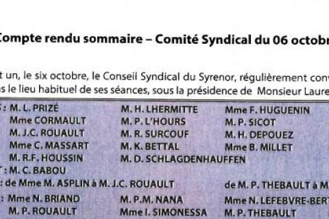 Compte rendu du conseil syndical du 6 octobre document imprimé et signé par le président
