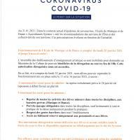 Fonctionnement de l' Ecole de Musique et de Danse à compter du 25/01/2021